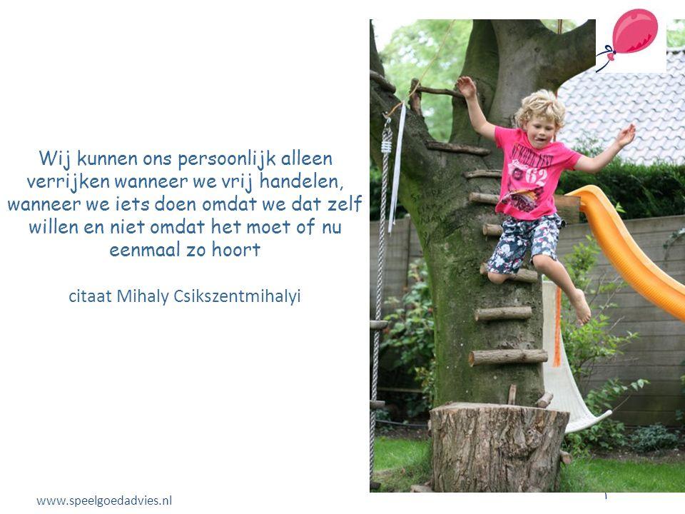 Wij kunnen ons persoonlijk alleen verrijken wanneer we vrij handelen, wanneer we iets doen omdat we dat zelf willen en niet omdat het moet of nu eenmaal zo hoort citaat Mihaly Csikszentmihalyi