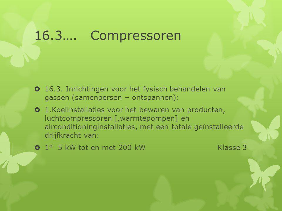 16.3…. Compressoren 16.3. Inrichtingen voor het fysisch behandelen van gassen (samenpersen – ontspannen):