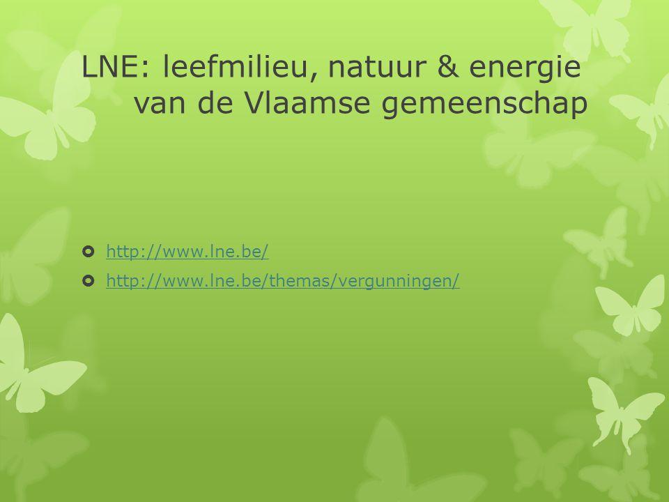 LNE: leefmilieu, natuur & energie van de Vlaamse gemeenschap