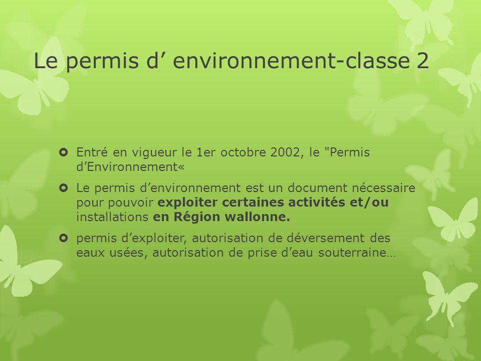 Le permis d' environnement-classe 2