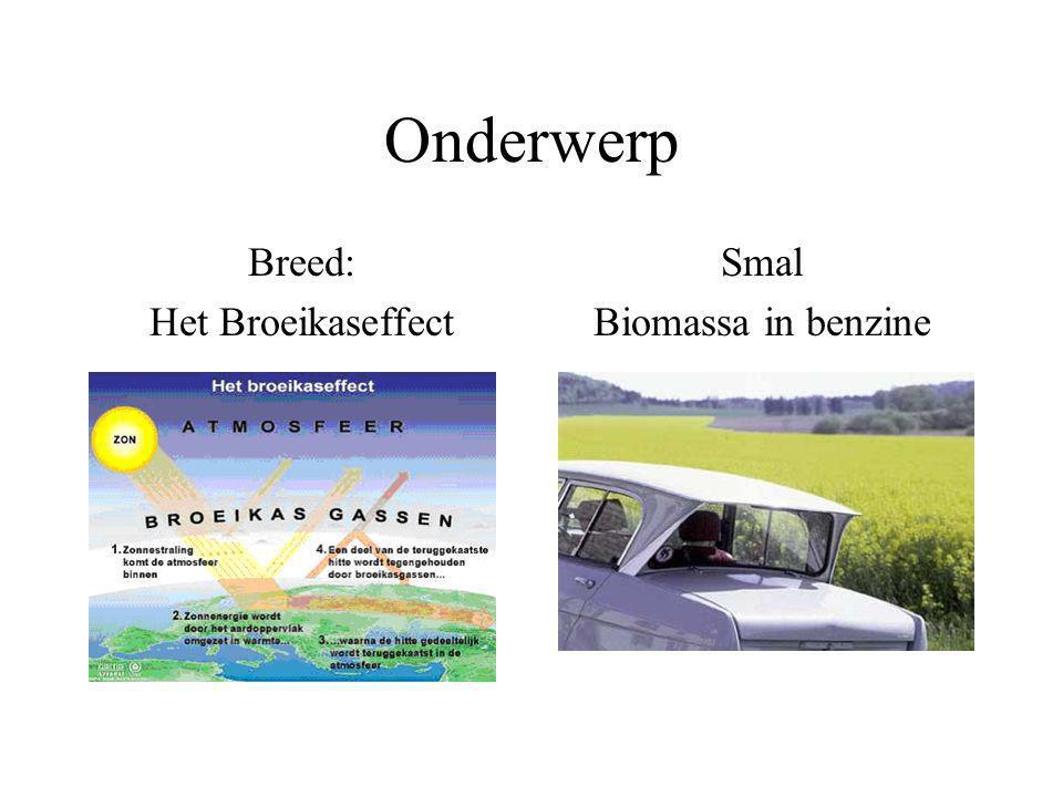 Onderwerp Breed: Het Broeikaseffect Smal Biomassa in benzine
