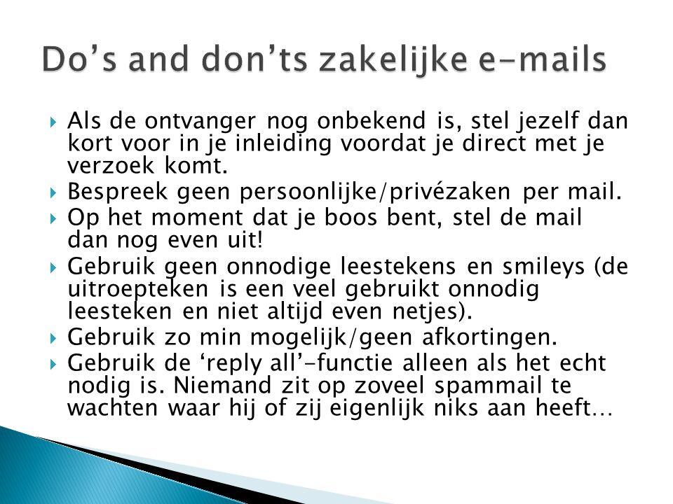 Do's and don'ts zakelijke e-mails