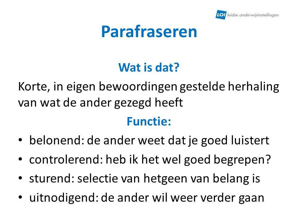 Parafraseren Wat is dat