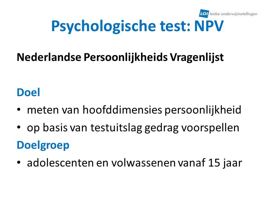 Psychologische test: NPV