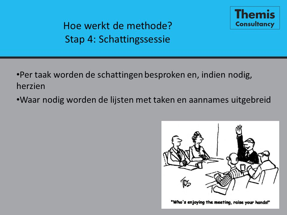 Hoe werkt de methode Stap 4: Schattingssessie