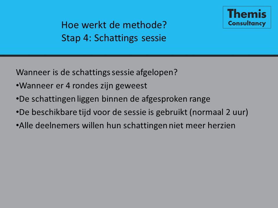 Hoe werkt de methode Stap 4: Schattings sessie