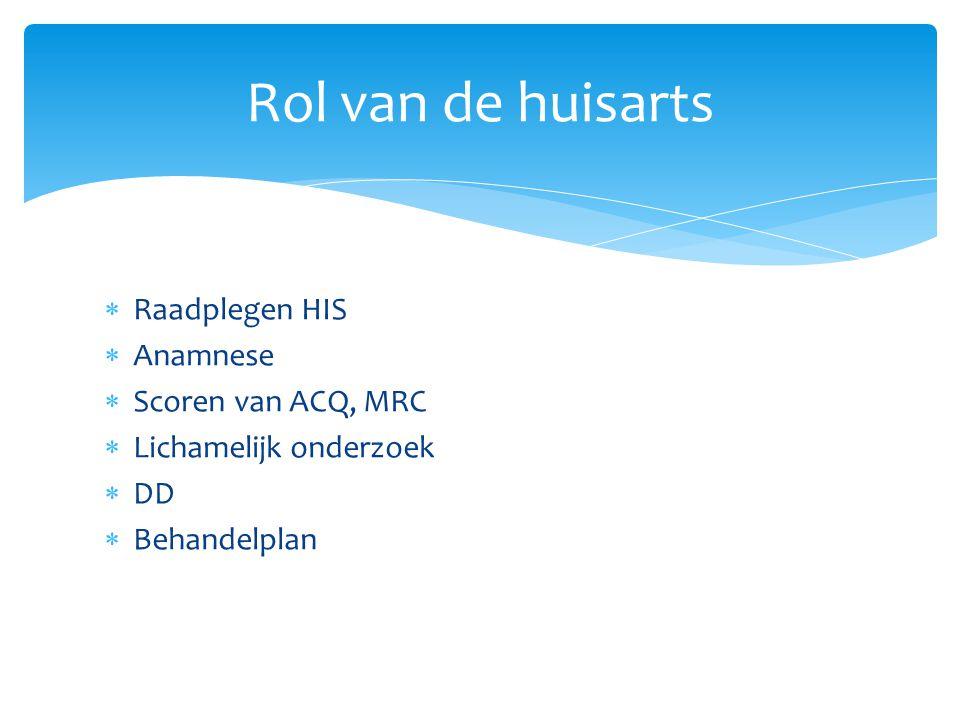 Rol van de huisarts Raadplegen HIS Anamnese Scoren van ACQ, MRC