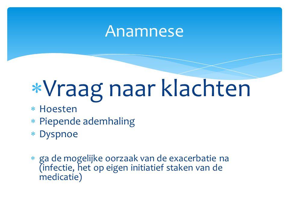 Vraag naar klachten Anamnese Hoesten Piepende ademhaling Dyspnoe