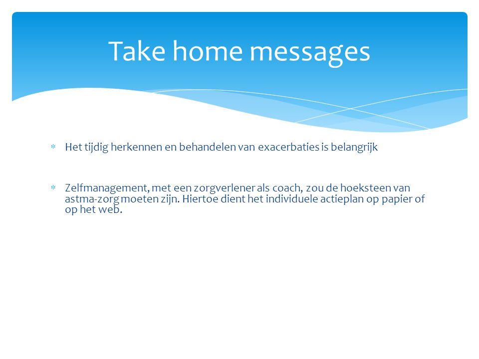 Take home messages Het tijdig herkennen en behandelen van exacerbaties is belangrijk.
