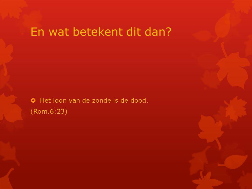 En wat betekent dit dan Het loon van de zonde is de dood. (Rom.6:23)