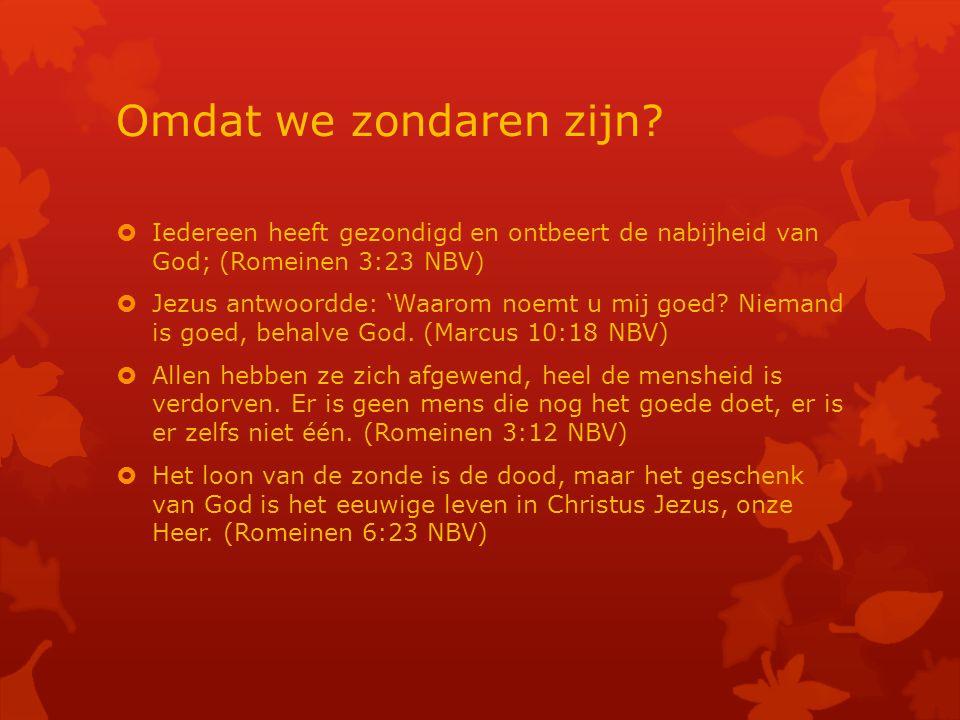 Omdat we zondaren zijn Iedereen heeft gezondigd en ontbeert de nabijheid van God; (Romeinen 3:23 NBV)