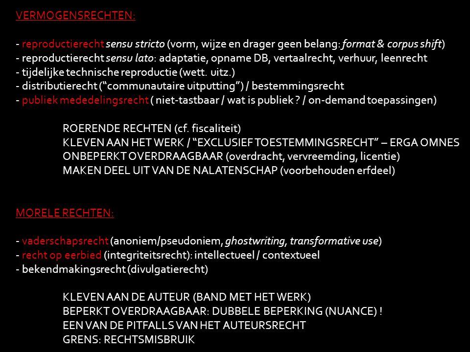 VERMOGENSRECHTEN: - reproductierecht sensu stricto (vorm, wijze en drager geen belang: format & corpus shift)