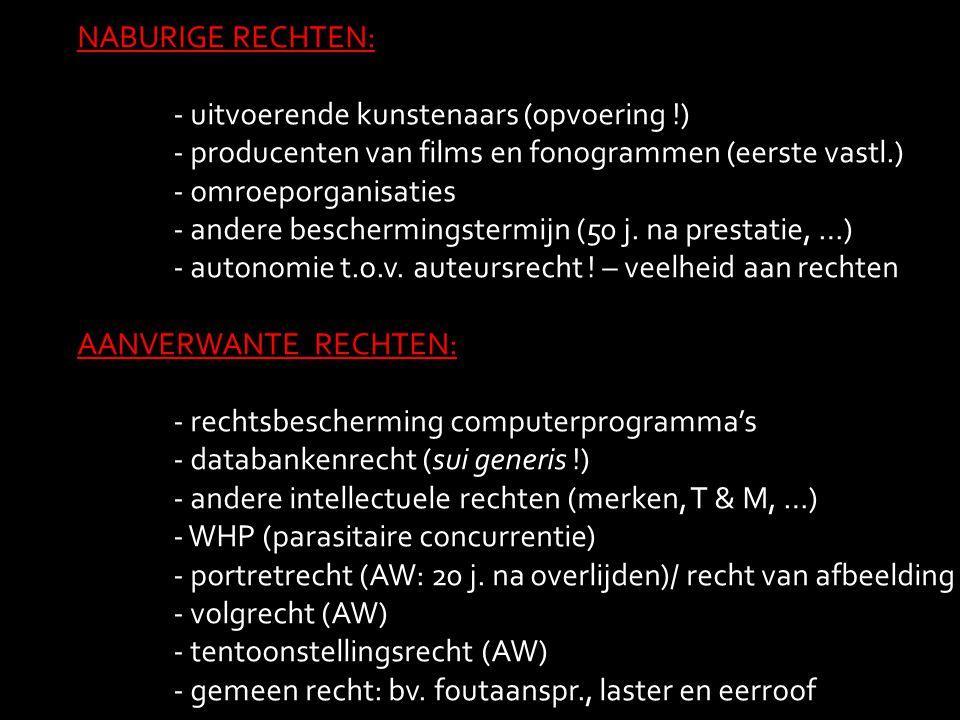 NABURIGE RECHTEN: - uitvoerende kunstenaars (opvoering !) - producenten van films en fonogrammen (eerste vastl.)