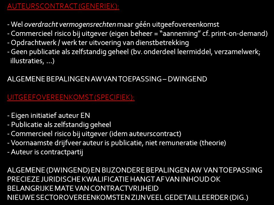 AUTEURSCONTRACT (GENERIEK):