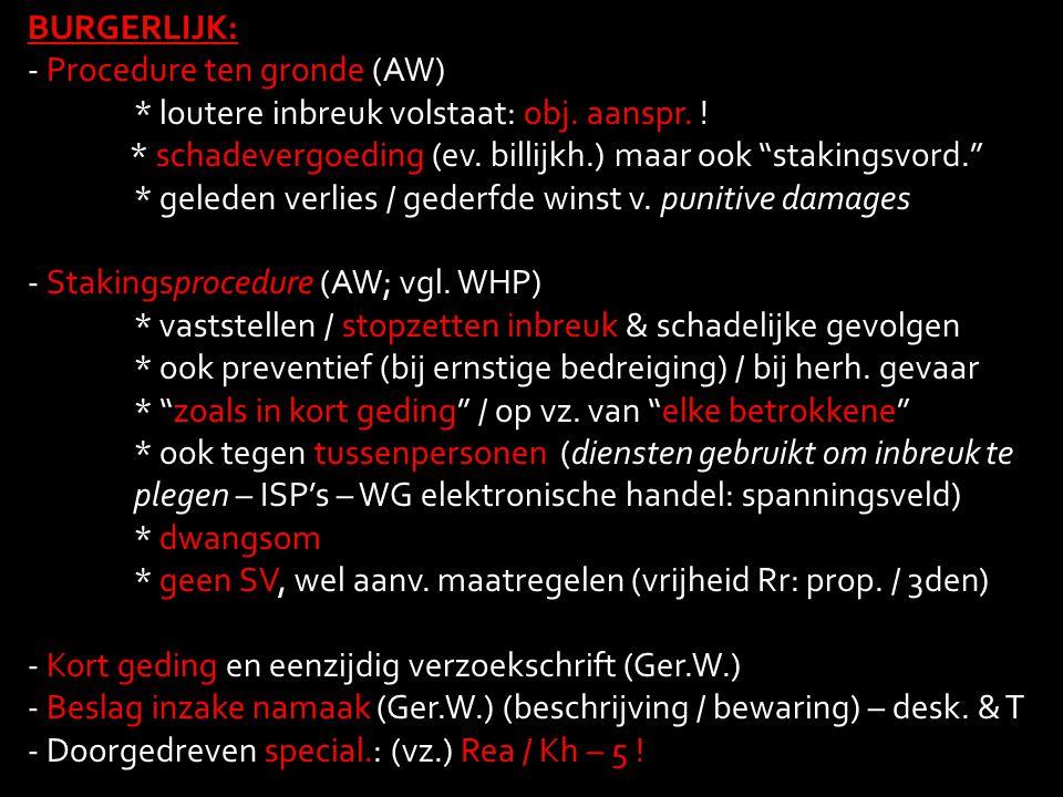 BURGERLIJK: Procedure ten gronde (AW) * loutere inbreuk volstaat: obj. aanspr. ! * schadevergoeding (ev. billijkh.) maar ook stakingsvord.
