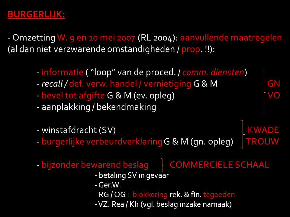 - informatie ( loop van de proced. / comm. diensten)