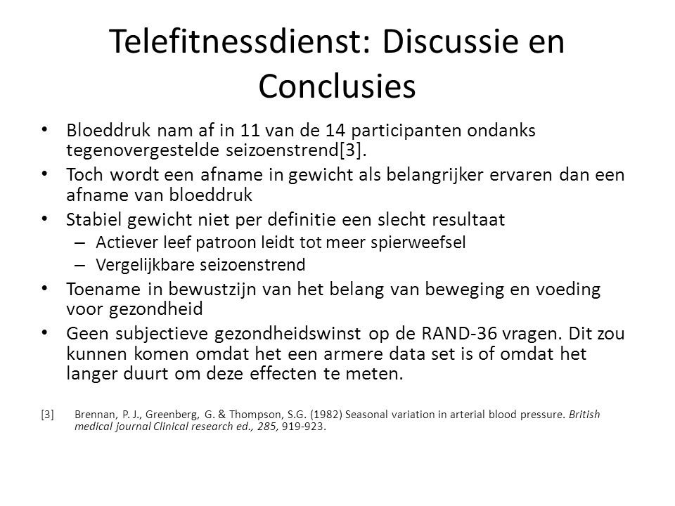 Telefitnessdienst: Discussie en Conclusies