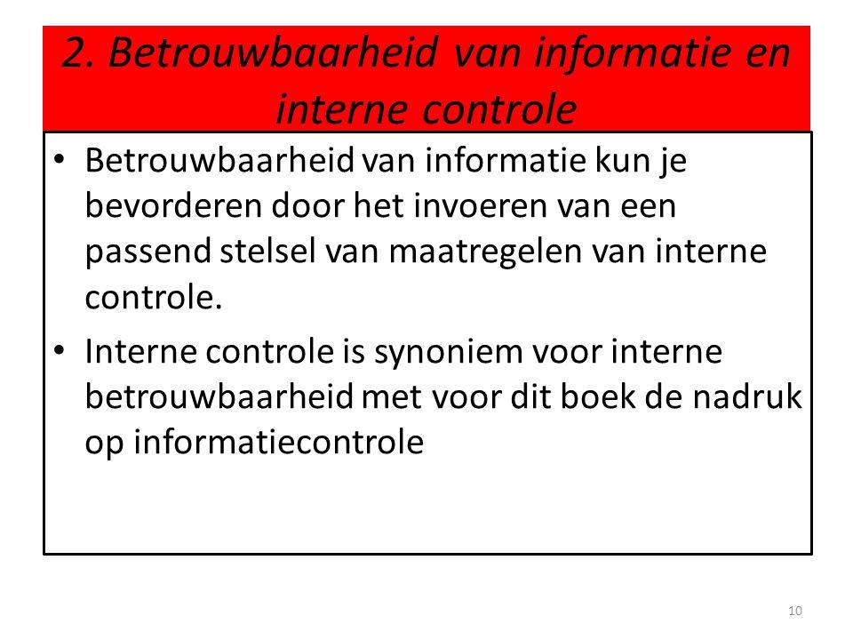 2. Betrouwbaarheid van informatie en interne controle
