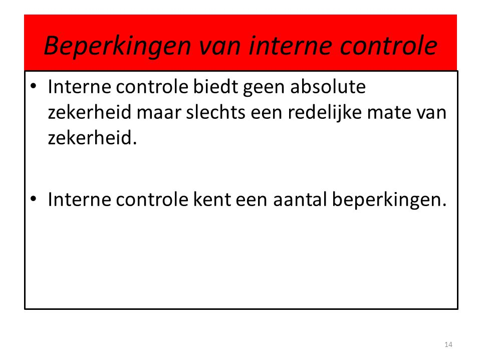 Beperkingen van interne controle