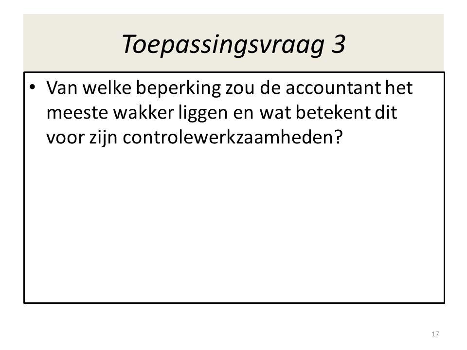 Toepassingsvraag 3 Van welke beperking zou de accountant het meeste wakker liggen en wat betekent dit voor zijn controlewerkzaamheden