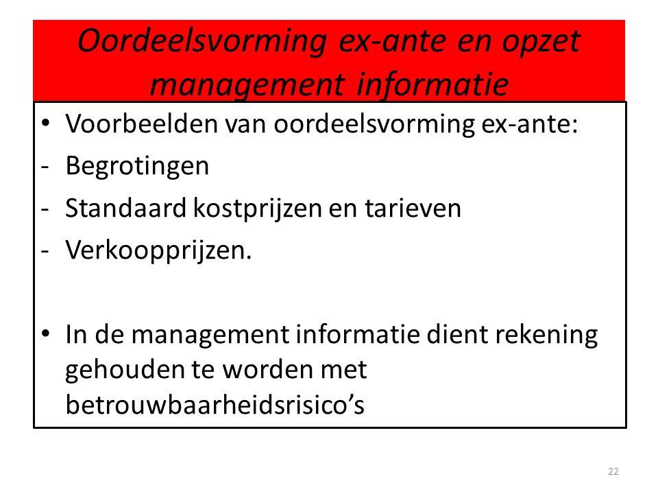 Oordeelsvorming ex-ante en opzet management informatie