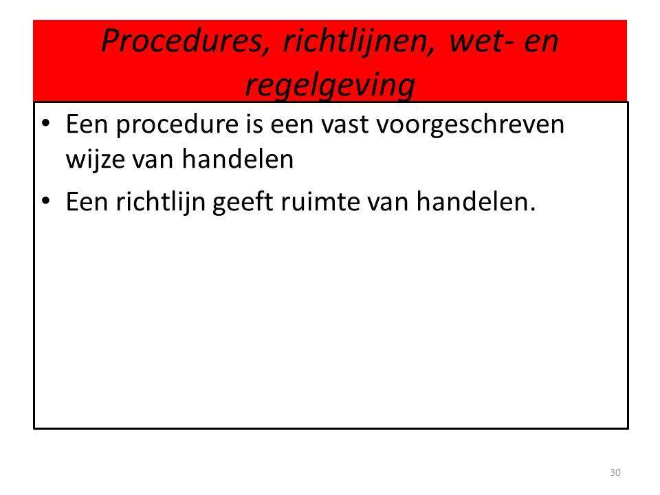 Procedures, richtlijnen, wet- en regelgeving