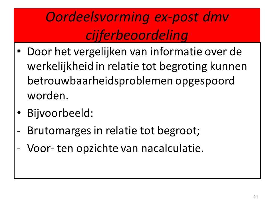 Oordeelsvorming ex-post dmv cijferbeoordeling