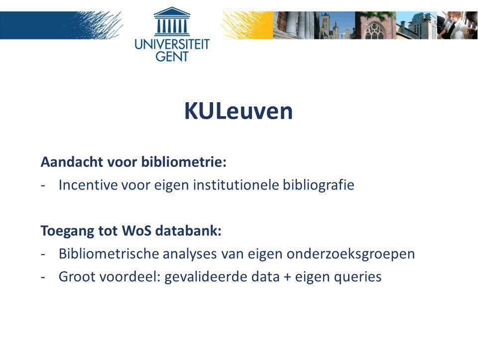 KULeuven Aandacht voor bibliometrie: