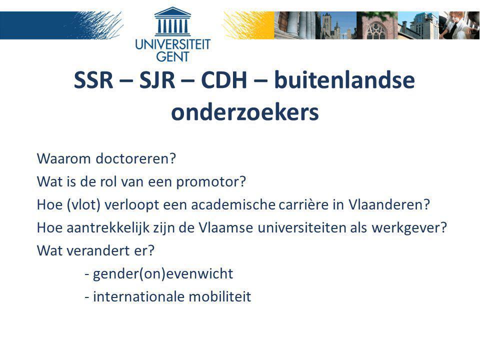 SSR – SJR – CDH – buitenlandse onderzoekers