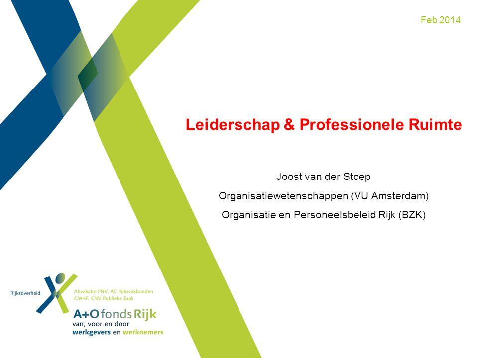 Feb 2014 Leiderschap & Professionele Ruimte Joost van der Stoep Organisatiewetenschappen (VU Amsterdam) Organisatie en Personeelsbeleid Rijk (BZK)