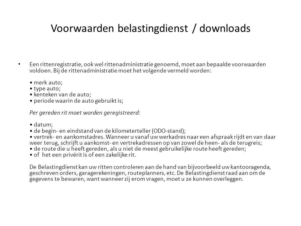 Voorwaarden belastingdienst / downloads