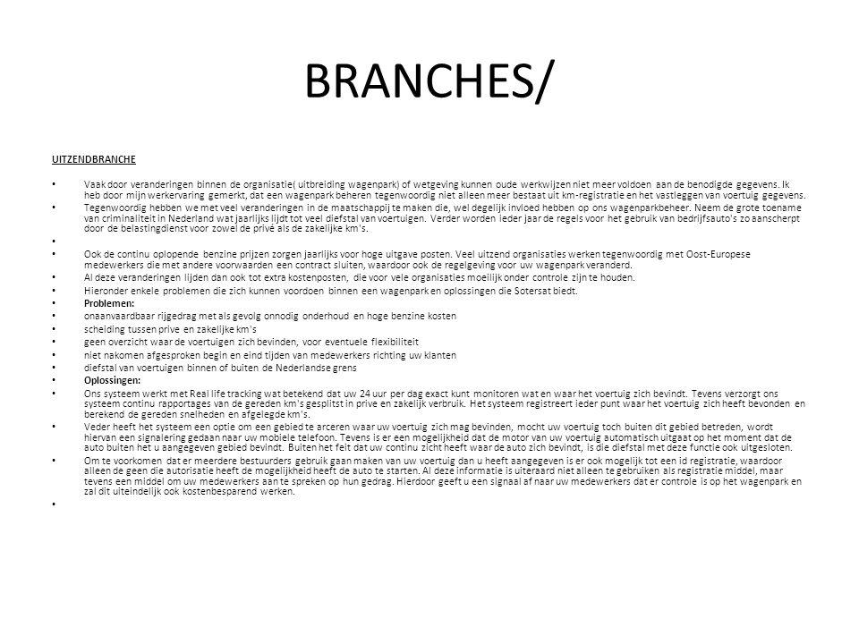 BRANCHES/ UITZENDBRANCHE