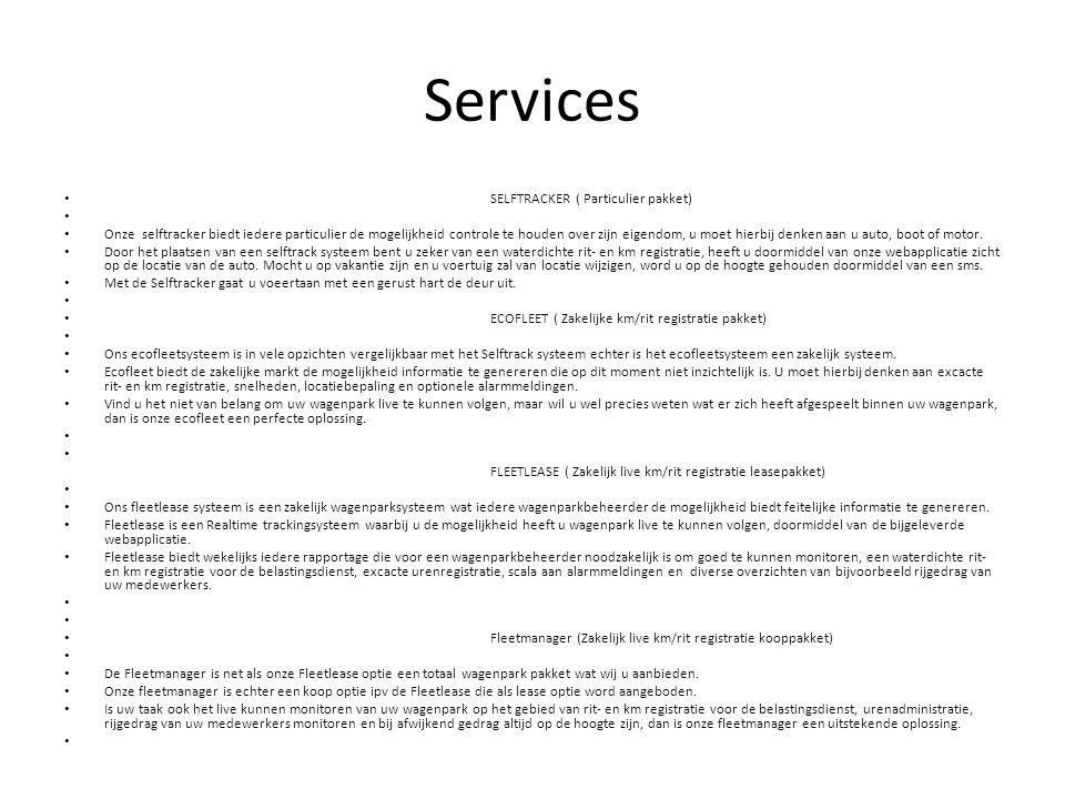 Services SELFTRACKER ( Particulier pakket)