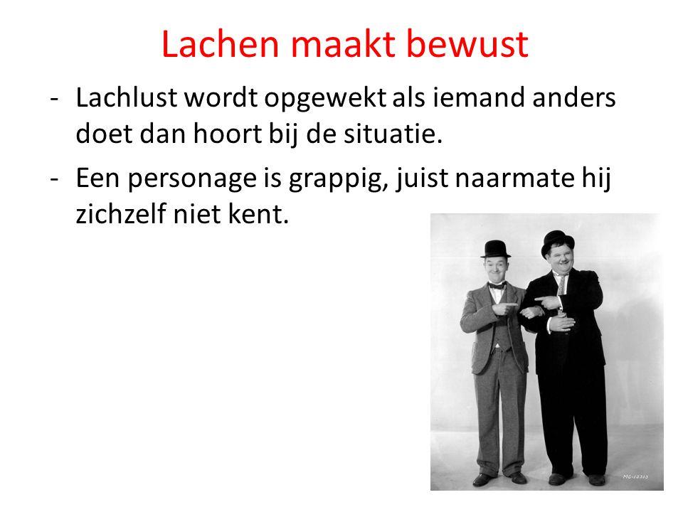 Lachen maakt bewust Lachlust wordt opgewekt als iemand anders doet dan hoort bij de situatie.