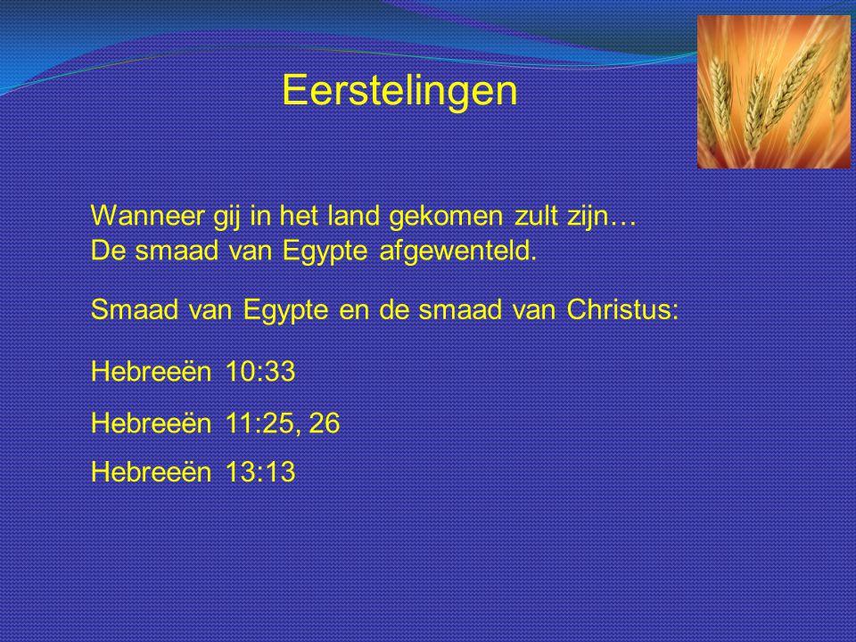 Eerstelingen Wanneer gij in het land gekomen zult zijn… De smaad van Egypte afgewenteld. Smaad van Egypte en de smaad van Christus: