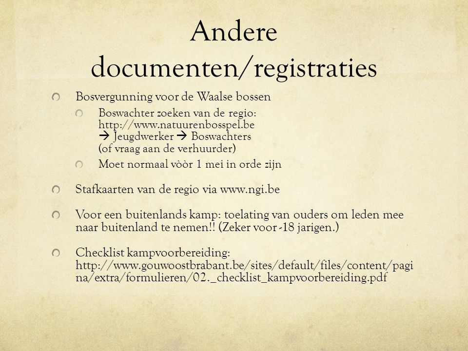 Andere documenten/registraties