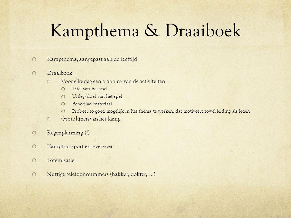 Kampthema & Draaiboek Kampthema, aangepast aan de leeftijd Draaiboek