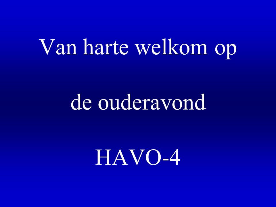 Van harte welkom op de ouderavond HAVO-4