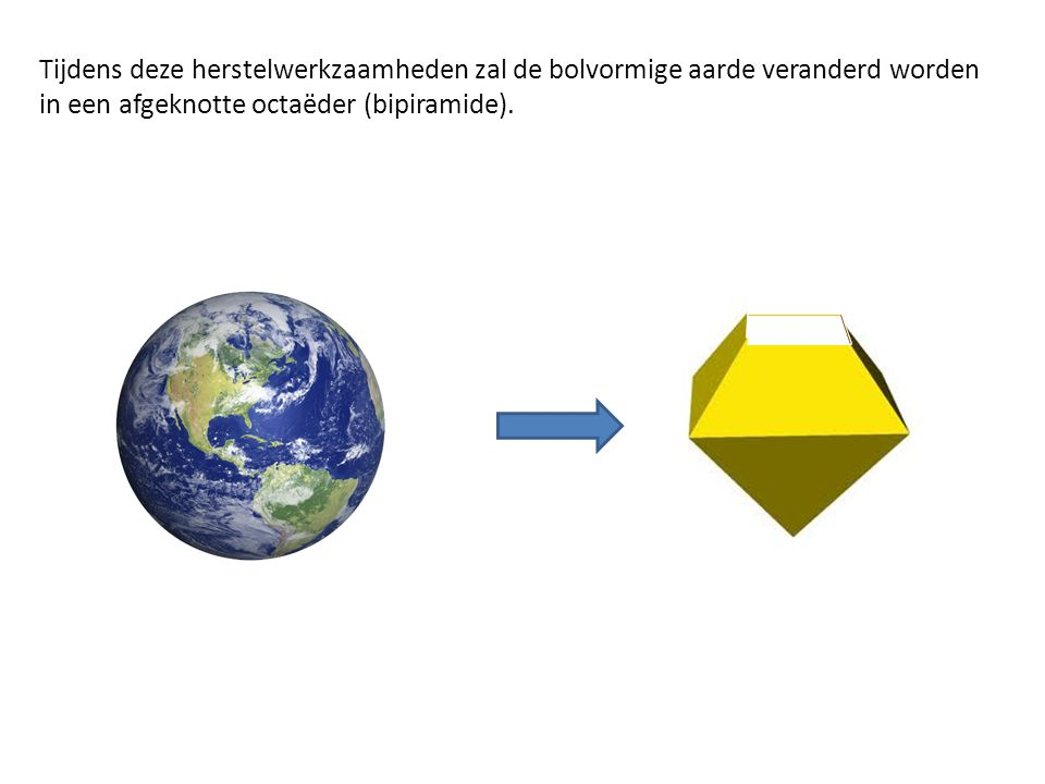Tijdens deze herstelwerkzaamheden zal de bolvormige aarde veranderd worden in een afgeknotte octaëder (bipiramide).