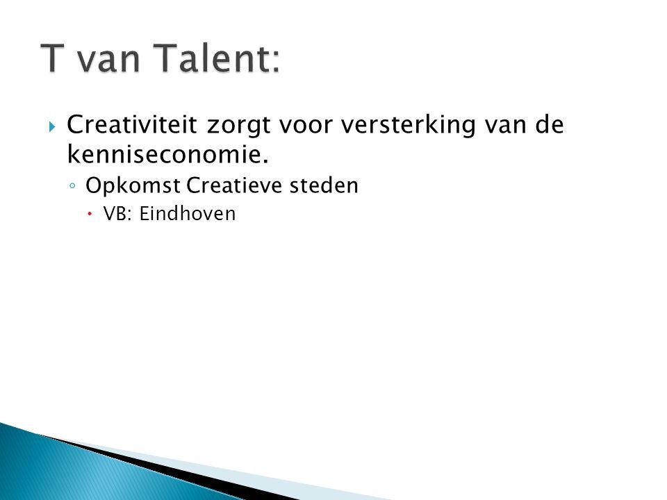 T van Talent: Creativiteit zorgt voor versterking van de kenniseconomie. Opkomst Creatieve steden.
