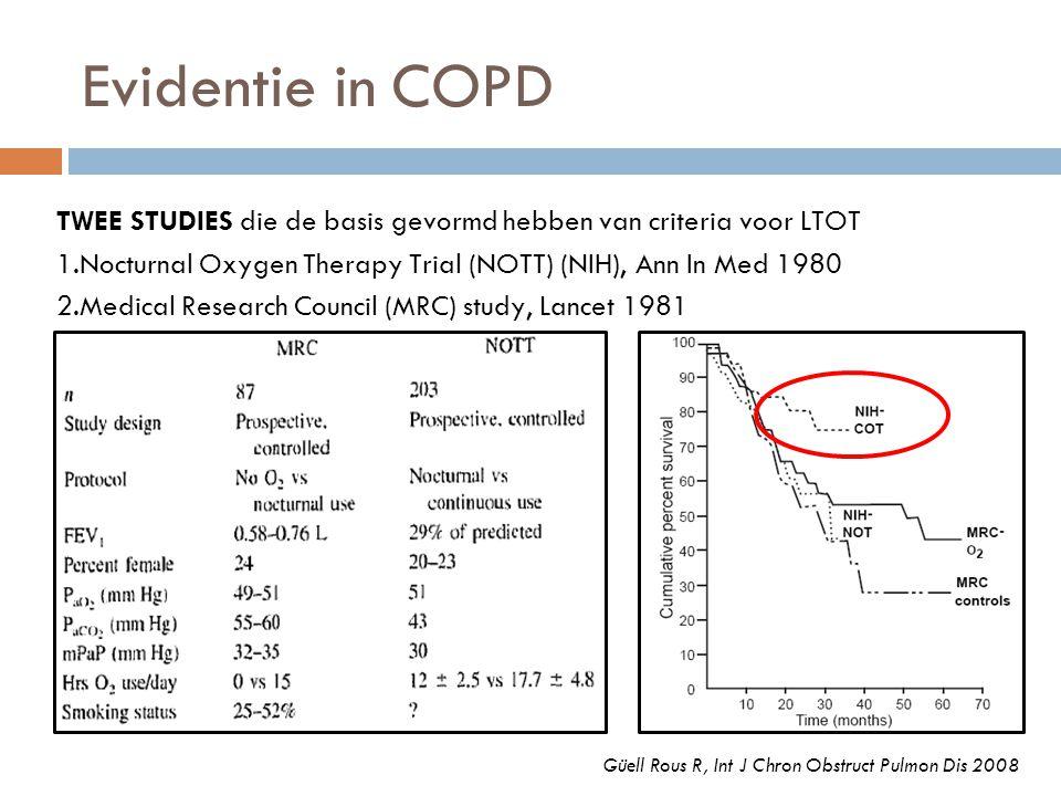 Evidentie in COPD TWEE STUDIES die de basis gevormd hebben van criteria voor LTOT. 1.Nocturnal Oxygen Therapy Trial (NOTT) (NIH), Ann In Med 1980.