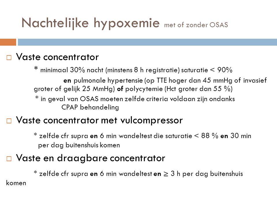 Nachtelijke hypoxemie met of zonder OSAS