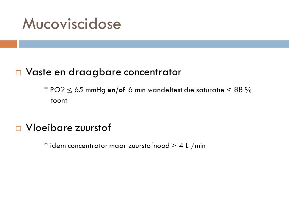 Mucoviscidose Vaste en draagbare concentrator