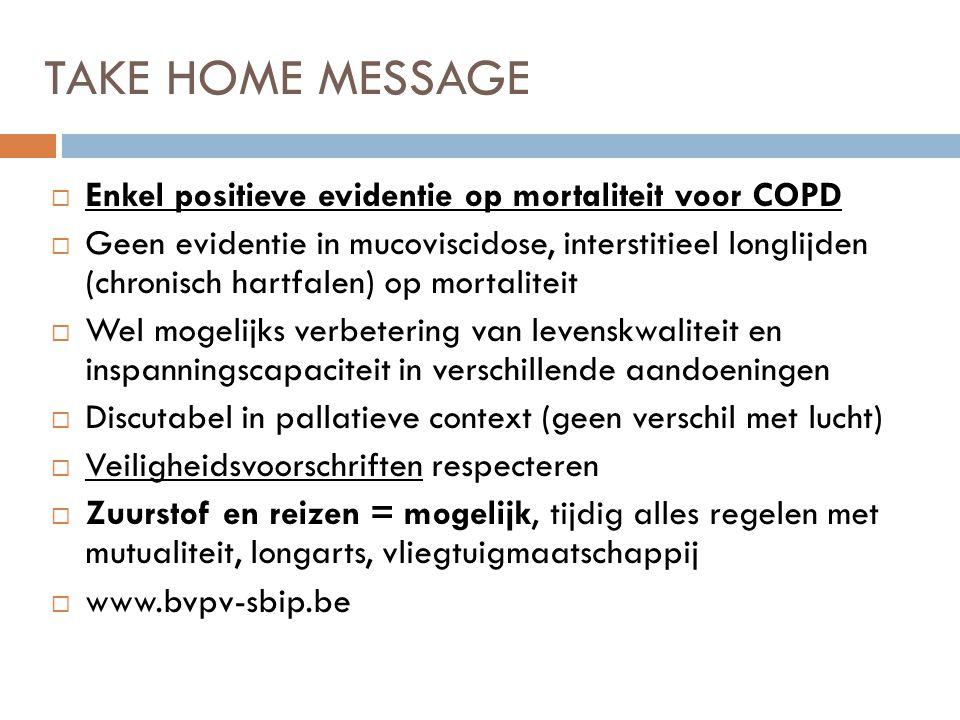 TAKE HOME MESSAGE Enkel positieve evidentie op mortaliteit voor COPD
