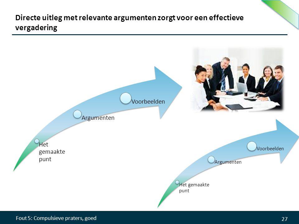 Directe uitleg met relevante argumenten zorgt voor een effectieve vergadering