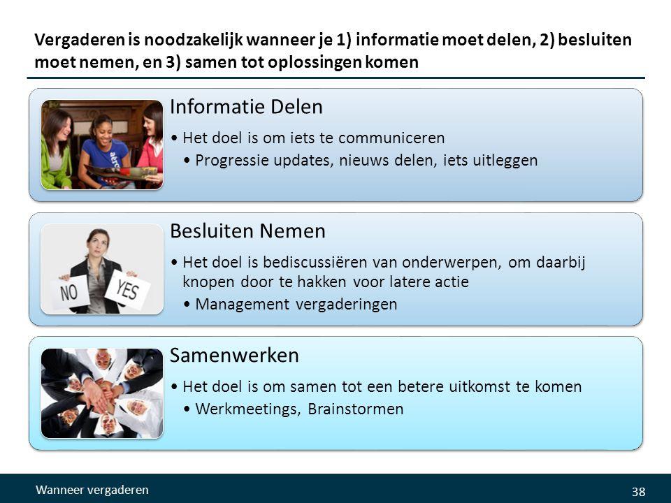Vergaderen is noodzakelijk wanneer je 1) informatie moet delen, 2) besluiten moet nemen, en 3) samen tot oplossingen komen