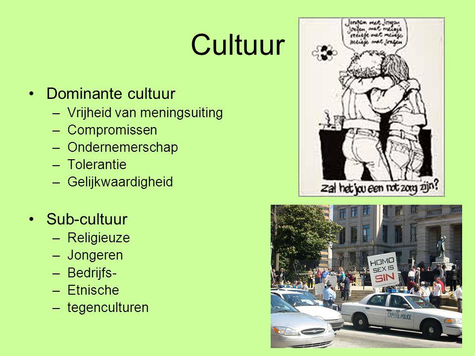 Cultuur Dominante cultuur Sub-cultuur Vrijheid van meningsuiting