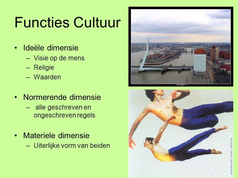 Functies Cultuur Ideële dimensie Normerende dimensie