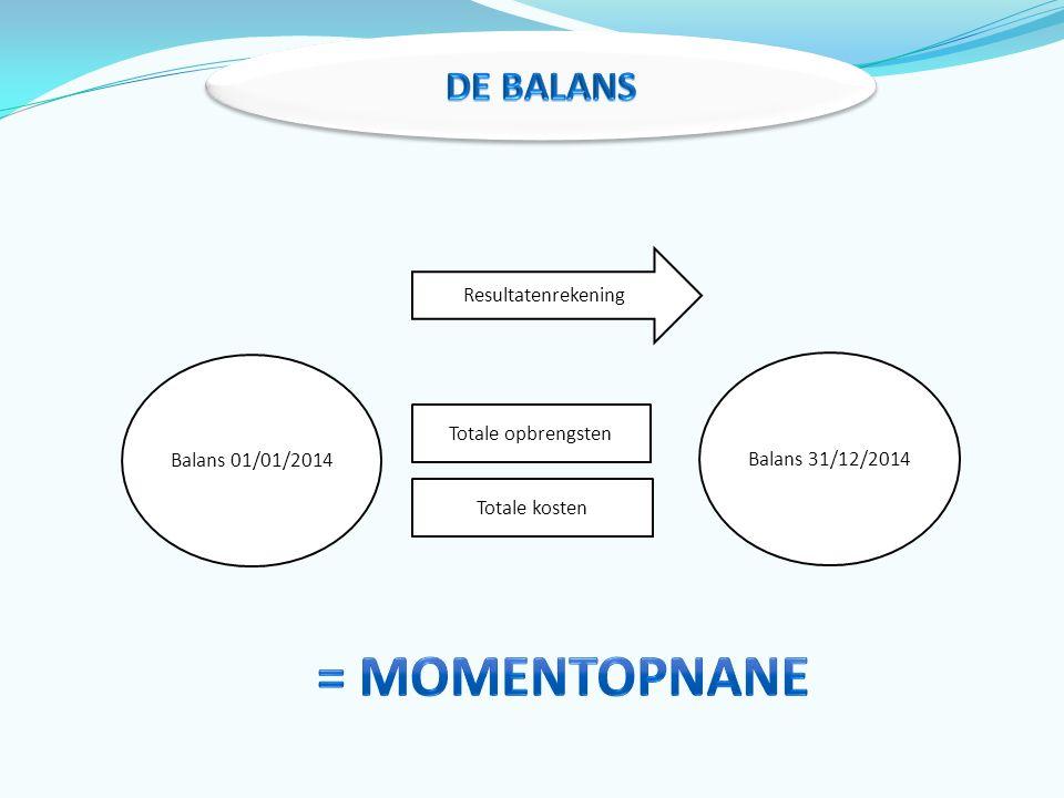 = MOMENTOPNANE De Balans Resultatenrekening Balans 01/01/2014