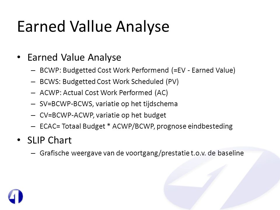 Earned Vallue Analyse Earned Value Analyse SLIP Chart